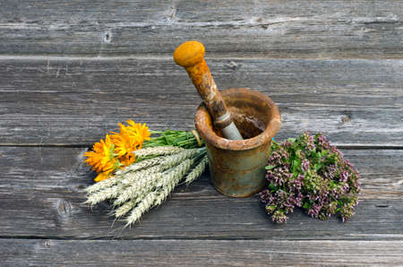 wild marjoram: ancient rusty iron mortar and medical herbs on old wooden background. Calendula, marigold, wild marjoram, oregano and wheat ears