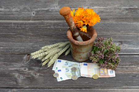 wild marjoram: ancient rusty iron mortar and various medical herbs with euro money on old wooden background Stock Photo