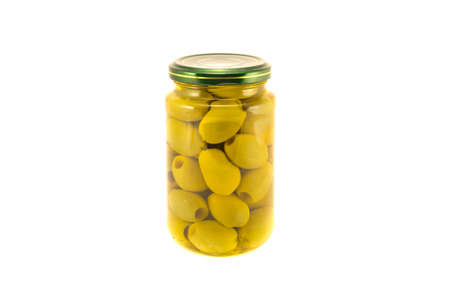 Green olives  glass jar isolated on white background
