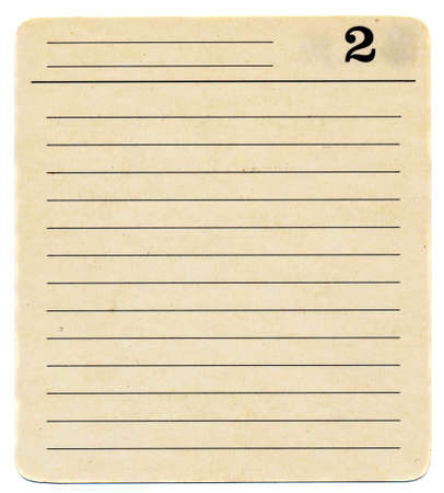 isolated ancient  used index card paper  with lines background  number two photo