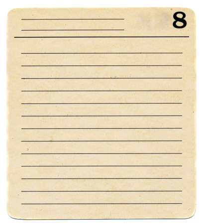 isolated ancient  used index card paper  with lines and number 8 background photo