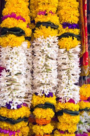 beautiful flowers garland in asia near temple, Mumbai, India photo