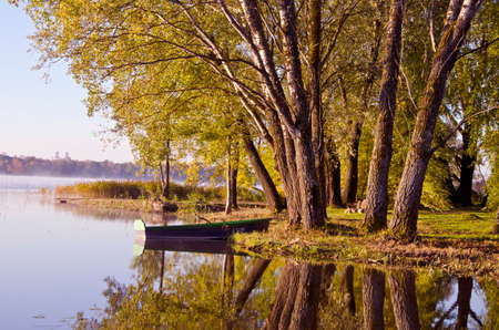 beautiful autumn time lake landscape with boat and tree