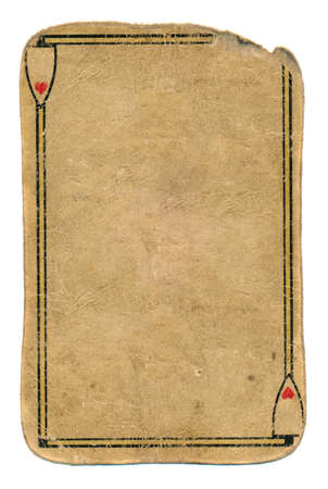 antique used playing card ace of hearts empty grunge paper background
