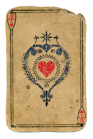 antique used grunge playing card ace of hearts isolated on white