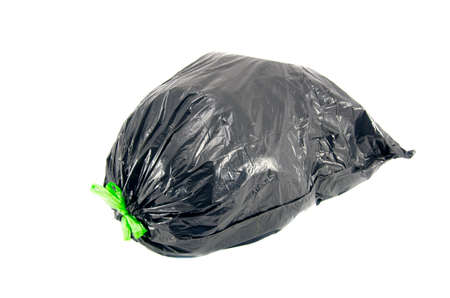 black plastic garbage bag: black garbage rubbish bag on white background with clipping path isolated on white Stock Photo