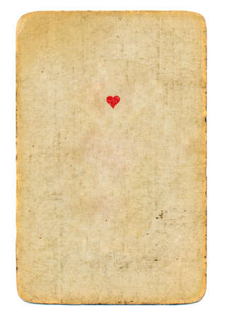antique playing card ace of hearts paper background isolated on white photo