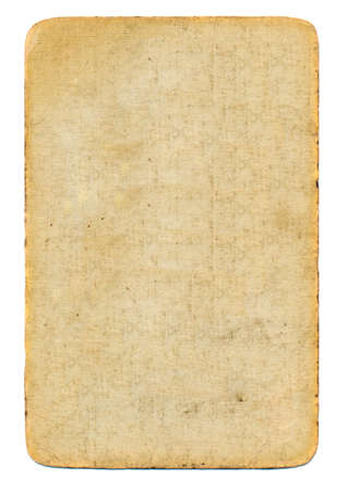 empty used antique playing card paper background isolated on white