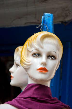 two plastic mannequin head in asia street, Kathmandu, Nepal