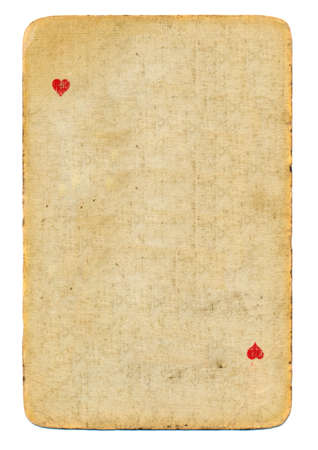 ace of hearts: antique  playing card ace of hearts used paper background isolated on white Stock Photo