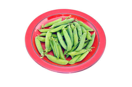 fresh sweet vegetable pea pods in red ceramic plate isoalated on white photo