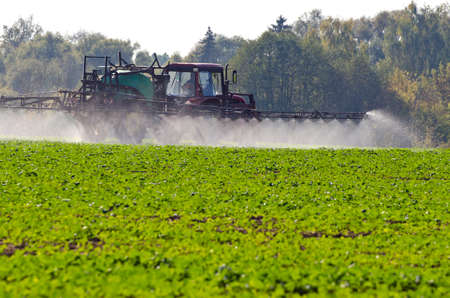 Tractor spray fertilize with insecticide herbicide chemicals in agriculture field and evening sunlight