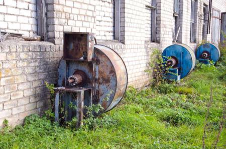 grain storage: old derelict electric engine for grain storage ventilator in farm