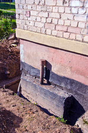 old urban house foundation repair work place