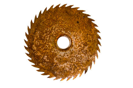 Old rusty circular steel saw blade isolated on white