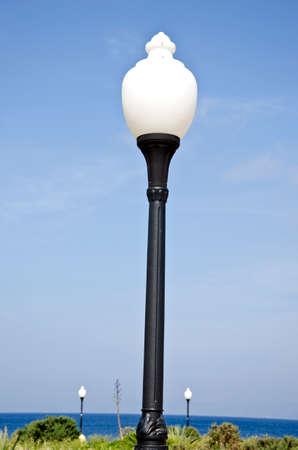 rhodes: Aegean sea beach park lamps in Rhodes island, Greece