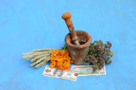 hard sell: Still life with herbs, dollars and mortar with pestle on blue background