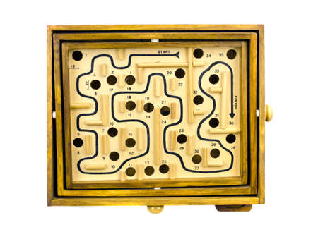 entanglement: Antique table game labyrinth isolated on white background