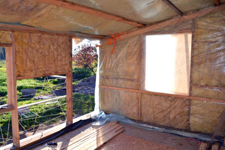rockwool: farm house room  insulation with rockwool material