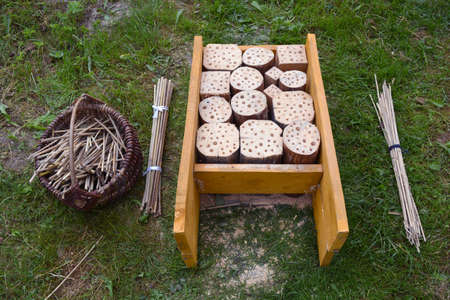 Insect hotel construction and reeds in basket in garden on grass