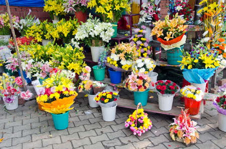 various colorful flowers in asia street market, India