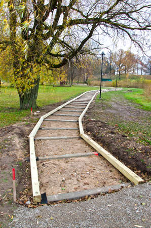 Wooden path work place foundation construction in park