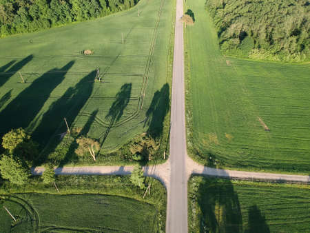 Aerial view of a country road crossroads in summer evening with tress shadows