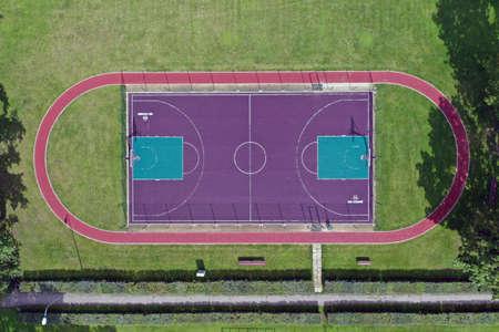 new basketball court in small stadium, aerial Stockfoto