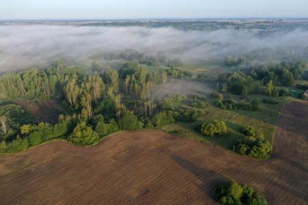 Plowed farm field by summer end forest with mist, aerial