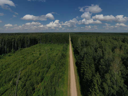 Summer time gravel road in forest, aerial view