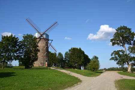 Very beautiful historical restored windmill in Lithuania Stok Fotoğraf