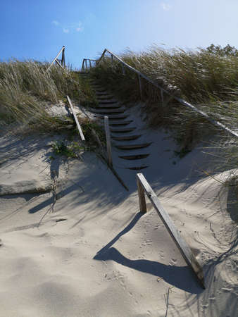 Wooden broken stairs on Baltic sea beach dunes in Lithuania Stok Fotoğraf