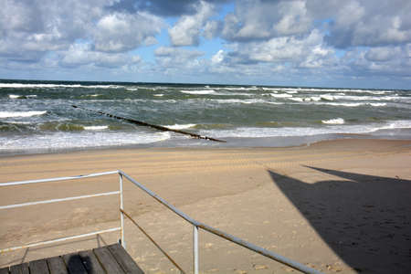 Baltic Sea beach in autumn with shadows, Lithuania, Curonian Spit