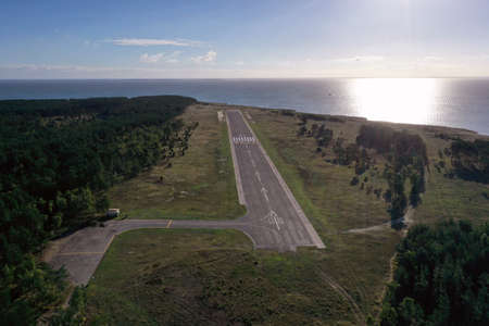 Small epmty airfield airport near sea in resort, Lithuania, aerial view Stok Fotoğraf