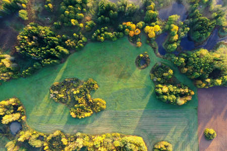 beautiful autumn landscape in nature park, Lithuania, aerial view