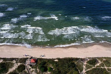 Baltic Sea beach in Curonian Spit national park, aerial view
