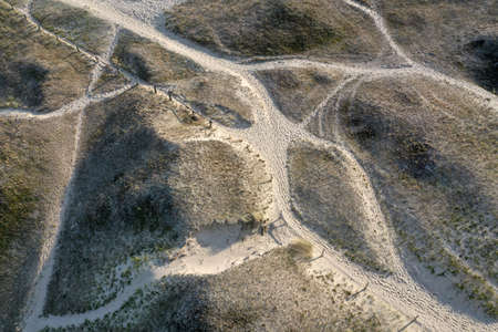 Old dunes with paths in Curonian spit national park, Lithuania, aerial view