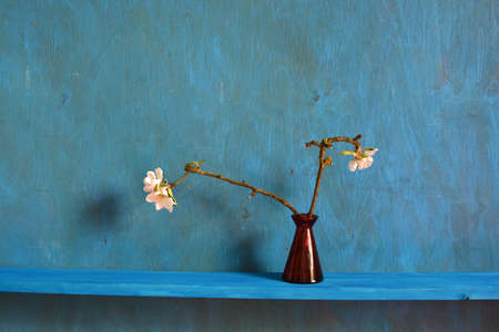 Still life with red vase and blossoming apple tree branches on shelf