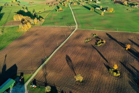 Beautiful autumn landscape with fields, trees and road, aerial view