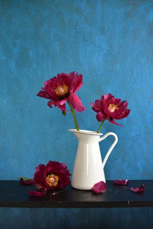 Beautiful red peony flowers in white pitcher jug Stok Fotoğraf