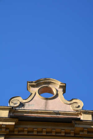 Top stepped gable of historical house in Vilnius, Lithuania