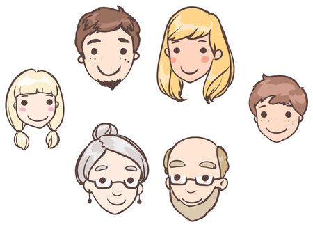 頭の家族のメンバーのセット