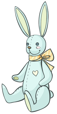 plushy: Cartoon soft toy bunny with a bow on neck