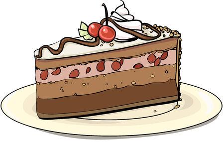 gateau: Piece of cherry pie on a plate