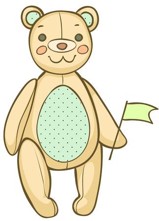 plushy: Cartoon teddy bear with a flag illustration