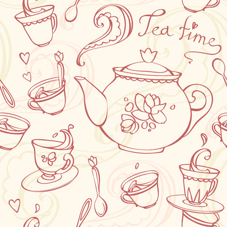 teatime: teatime seamless pattern with teapot and mugs