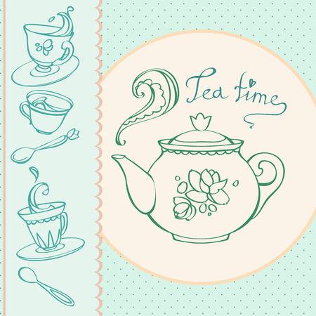 teatime: teatime greeting card with mugs