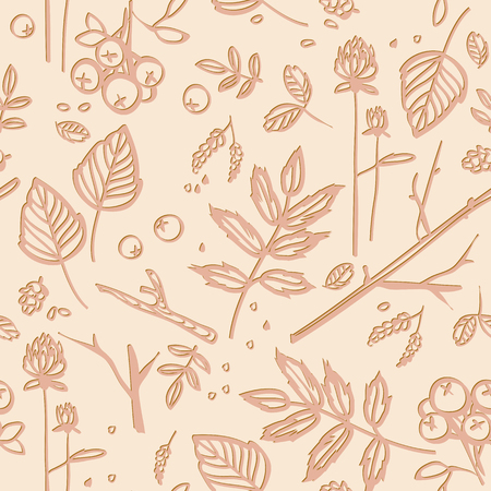 seamless pattern with leaves, twigs, berries Vector