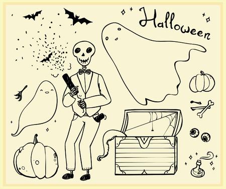 party poppers: halloween set outline elements: ghosts, skeleton, bats, pumpkins