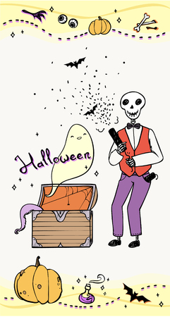 party poppers: halloween greeting card with skeleton